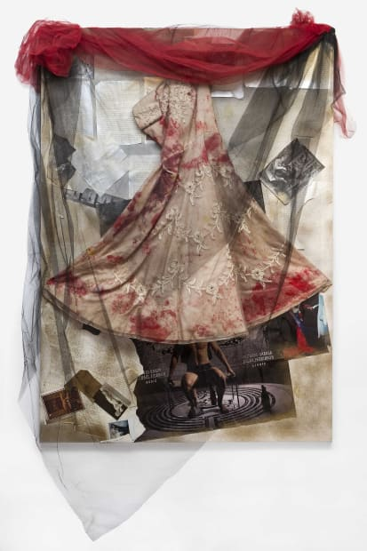 Untitled, 2006, Painting on canvas, spray paint, manuscript sheets, photographs, poster, magazine clippings, dress with red paint, black and red tulle, 170 x 120 x 2.5 cm
