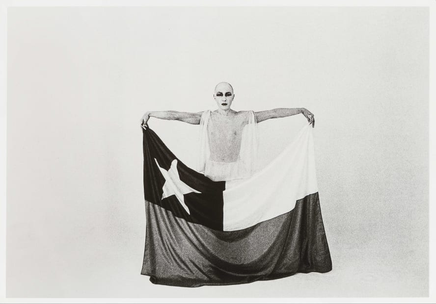 El Mimo y La Bandera (The Mime and the Flag), 1975, Silver gelatin print, 24 x 30 cm, Photograph by Giovanna dal Magro