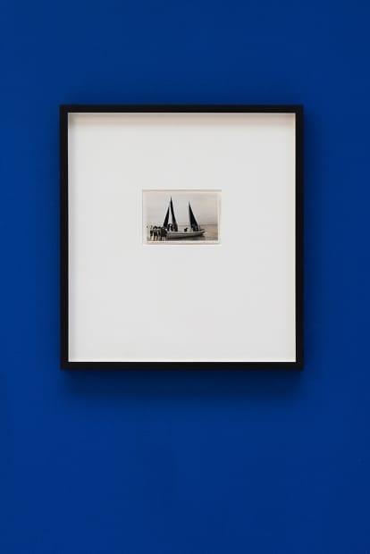 De velas y rumores estrellados [Of Sails and Starry Rumours] N. 9, 2017. Collage, 35.5 x 32.5 cm (postcard dimensions 8.4 x 3.5 cm)