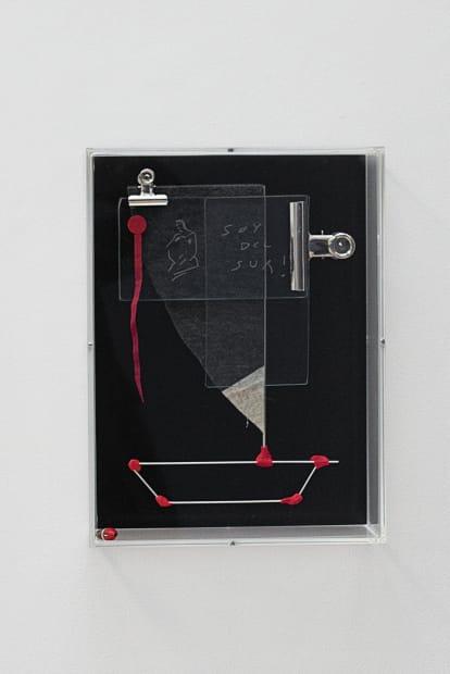 Prototype N.1, 2018. Acrylic box, felt, engraved glass, aluminium, plastic, dacron, 40 x 30 cm