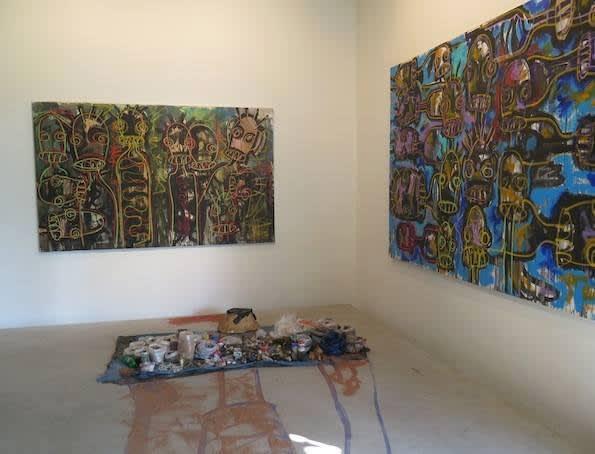 """Exposition """"Nouchi City"""" à la Galerie Cécile Fakhoury à Abidjan 2014 © Aboudia"""