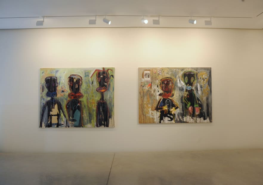 Aujourd'hui je travaille avec mon petit fils, Aboudia , Galerie Cécile Fakhoury - Abidjan 2012 © Aboudia © Frédéric Bruly Bouabré