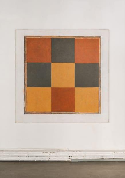 """JEAN-PIERRE PINCEMIN Sans titre 'Damier"""", 1989 Technique mixte sur toile / Mixed technique on canvas 200 x 200 cm /..."""