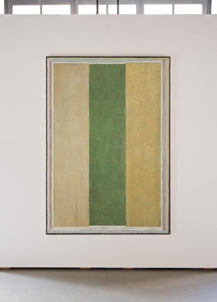"""JEAN-PIERRE PINCEMIN Sans titre 'Trois bandes"""", 1983 Technique mixte sur toile / Mixed technique on canvas 210 x 151 cm..."""