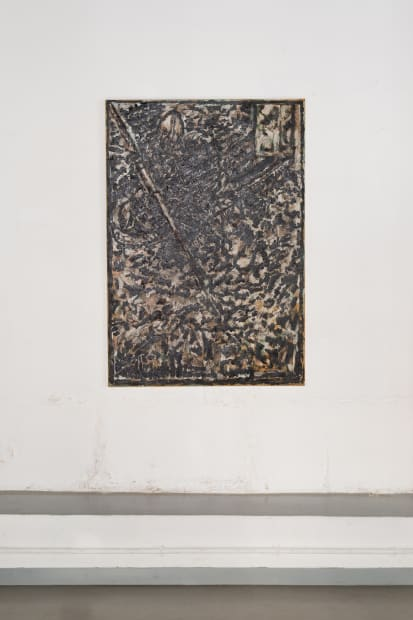 JEAN-PIERRE PINCEMIN Untitled (Chasse au Tigre), 2001 Oil and tar on paper laid down on canvas / Huile et goudron...