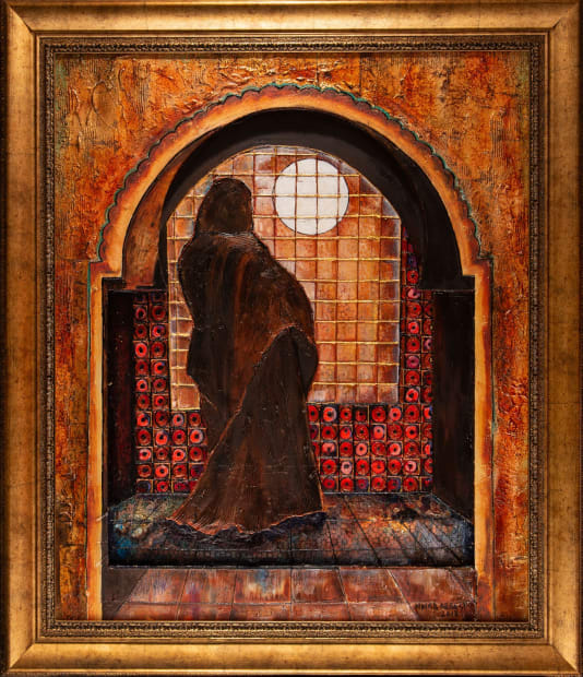 WOMAN IN THE WINDOW 36x36 Oils and Mixed Media on Three dimensional wood panel Framed 36x42 Click to zoom PRICE UPON REQUEST