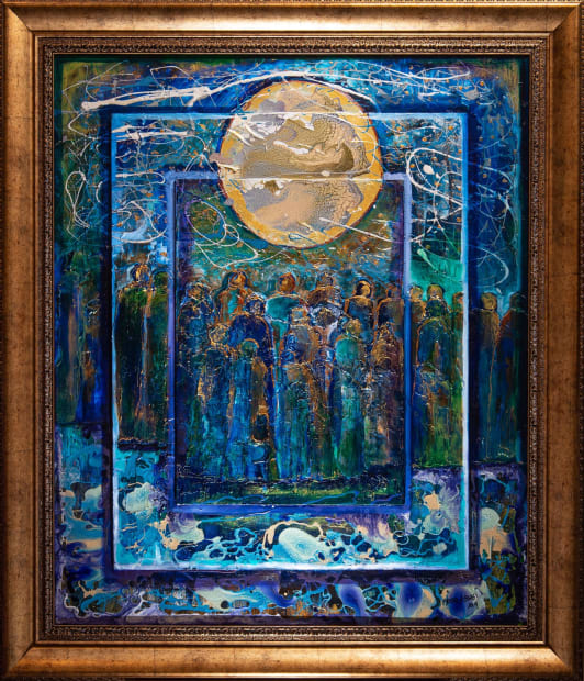 FULL MOON GATHERING 36x36 Oils and Mixed Media on Three dimensional wood panel Framed 36.6 x 42.6 Click to zoom PRICE UPON REQUEST