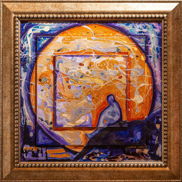 SWALLOWED BY THE NIGHT 24x24 Oils and Mixed Media on Three dimensional wood panel Framed 30x30 Click to Zoom PRICE UPON REQUEST