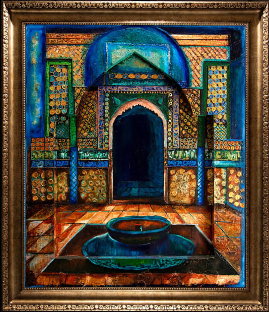 EMERALD COURTYARD 30x36 Oils and Mixed Media on Three dimensional wood panel Framed 36x42 Click to Zoom PRICE UPON REQUEST