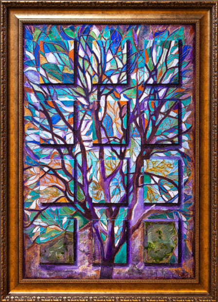 Peacock Forest 24x36 Oils and Mixed Media on Three dimensional wood panel Framed 30x42 Click to Zoom PRICE UPON REQUEST