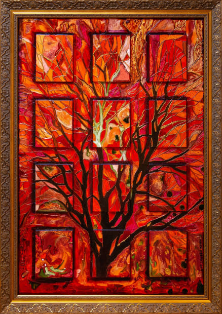 Ablaze 24x36 Oils and Mixed Media on Three dimensional wood panel Framed 30x42 Click to Zoom PRICE UPON REQUEST