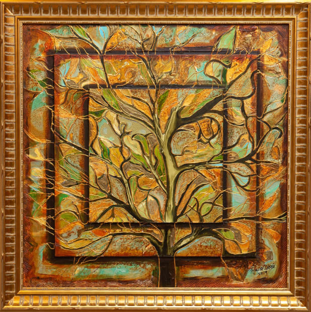 Sage Forest 24x24 Oils and Mixed Media on Three dimensional wood panel Framed 27x27 Click to Zoom PRICE UPON REQUEST