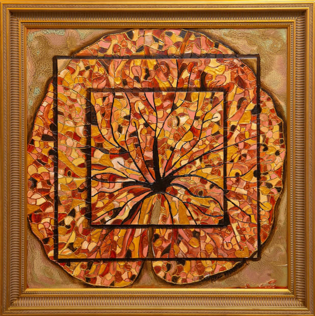 Lotus Leaf 24x24 Oils and Mixed Media on Three dimensional wood panel Framed 28x28 Click to Zoom PRICE UPON REQUEST