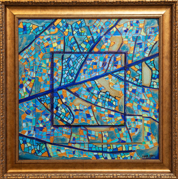 Lapis Mosaic Leaf 24x24 Oils and Mixed Media on Three dimensional wood panel Framed 30x30 Click to Zoom PRICE UPON REQUEST