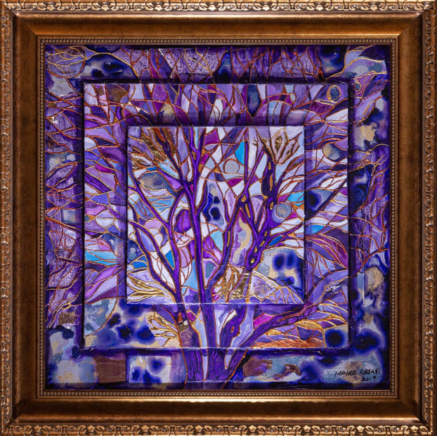 Indigo Forest 24x24 Oils and Mixed Media on Three dimensional wood panel Framed 30x30 Click to Zoom PRICE UPON REQUEST
