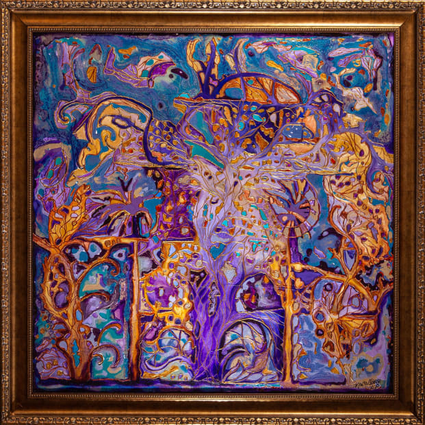 Purple Dreams 36x36 Oils and Mixed Media on wood panel Framed 42x42 Click to Zoom PRICE UPON REQUEST
