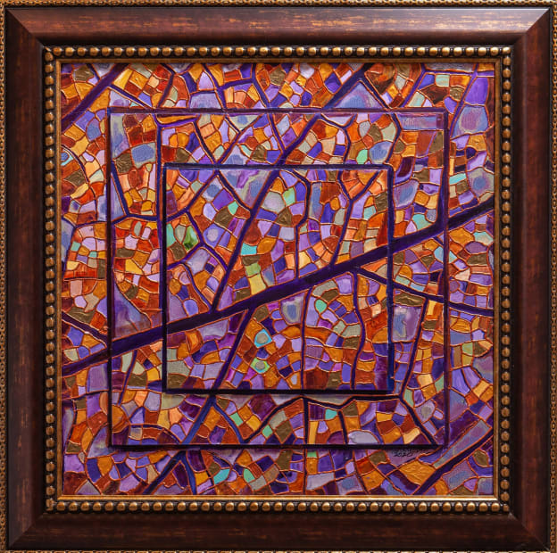 Amethyst Leaf Mosaic 24x24 Oils and Mixed Media on Three dimensional wood panel Framed 30x30 Click to Zoom PRICE UPON REQUEST