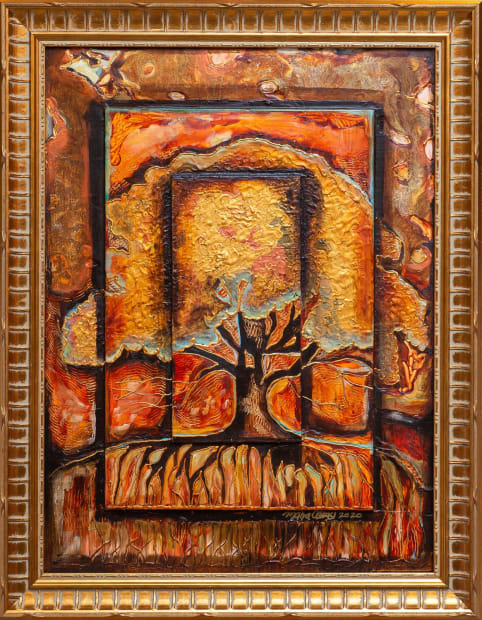 Earth Tree In Autumn 18x24 Oils and Mixed Media on Three dimensional wood panel Framed 21.6x21.6 Click to Zoom PRICE UPON REQUEST