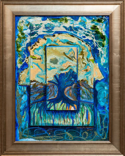 Aqua Tree Of Life 18x24 Oils and Mixed Media on Three dimensional wood panel Framed 23.6x23.6 Click to Zoom PRICE UPON REQUEST