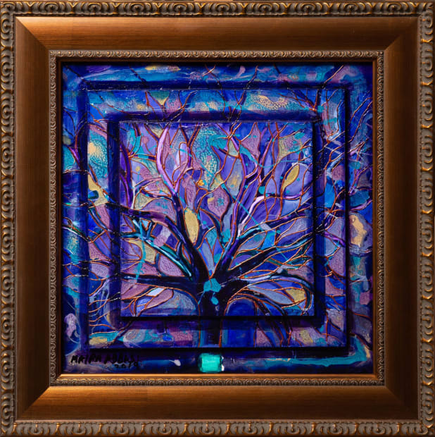 Purple Rain 15x15 Oils and Mixed Media on Three dimensional wood panel Framed 20x20 Click to Zoom PRICE UPON REQUEST