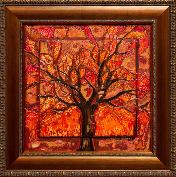 Petit Arbre 15x15 Oils and Mixed Media on Three dimensional wood panel Framed 20x20 Click to Zoom PRICE UPON REQUEST