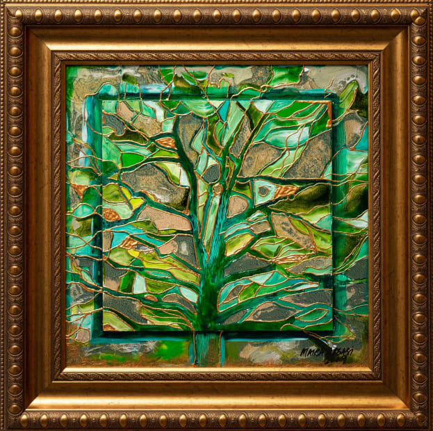 Emerald Forest 15x15 Oils and Mixed Media on Three dimensional wood panel Framed 20x20 Click to Zoom PRICE UPON REQUEST
