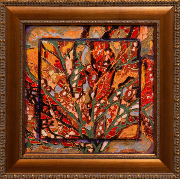 Autumn Forest 15x15 Oils and Mixed Media on Three dimensional wood panel Framed 20x20 Click to Zoom PRICE UPON REQUEST