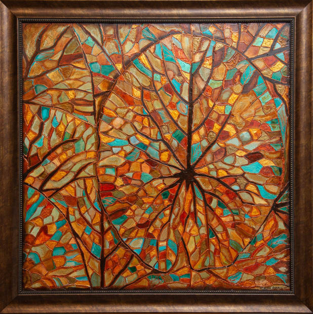 Lotus Leaves 36x36 Oils and Mixed Media on wood panel Framed 42x42 Click to Zoom PRICE UPON REQUEST