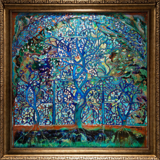 Lapis Tree of Life 36x36 Oils and Mixed Media on wood panel Framed 42x42 Click to Zoom PRICE UPON REQUEST