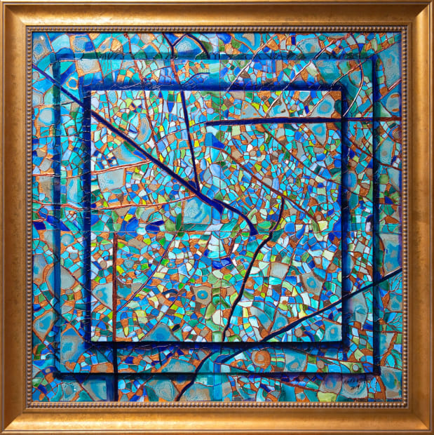 Lapis Leaves 36x36 Oils and Mixed Media on wood panel Framed 42x42 Click to Zoom PRICE UPON REQUEST