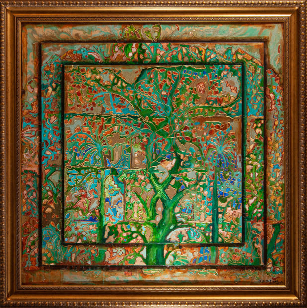 Jade Forest 36x36 Oils and Mixed Media on Three dimensional wood panel Framed 42x42 Click to Zoom PRICE UPON REQUEST