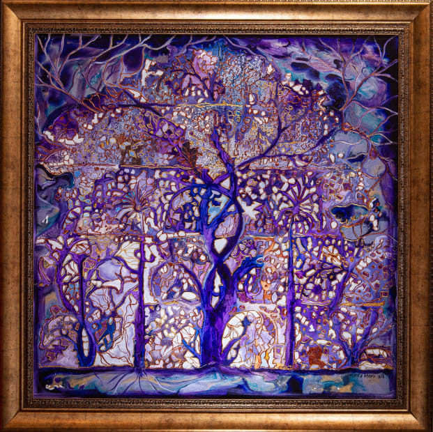 Amethyst Tree Of Life 36x36 Oils and Mixed Media on wood panel Framed 42x42 Click to Zoom PRICE UPON REQUEST