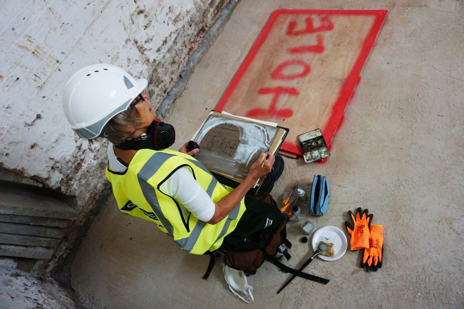 RWS artist Julia Midgley drawing on location at the Whitcomb Street renovation site, 2018
