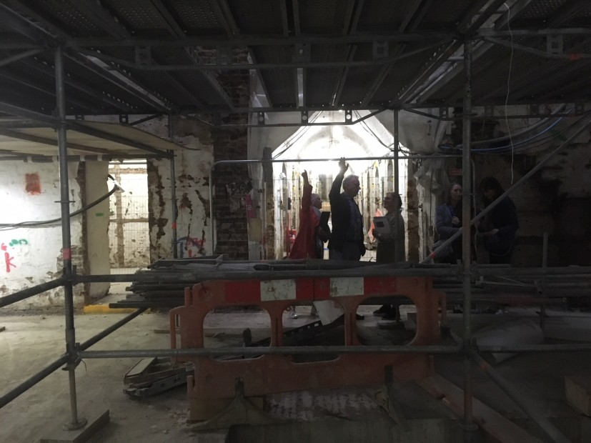 The interior of the gallery at Whitcomb Street during renovation works, 2018