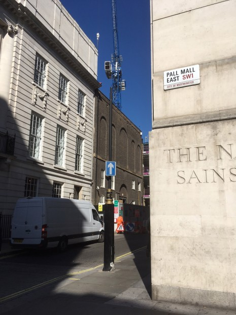The view of the Whitcomb Street gallery from the corner of Pall Mall East