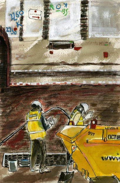 Reportage drawing of the renovation works at Whitcomb Street, by Julia Midgley