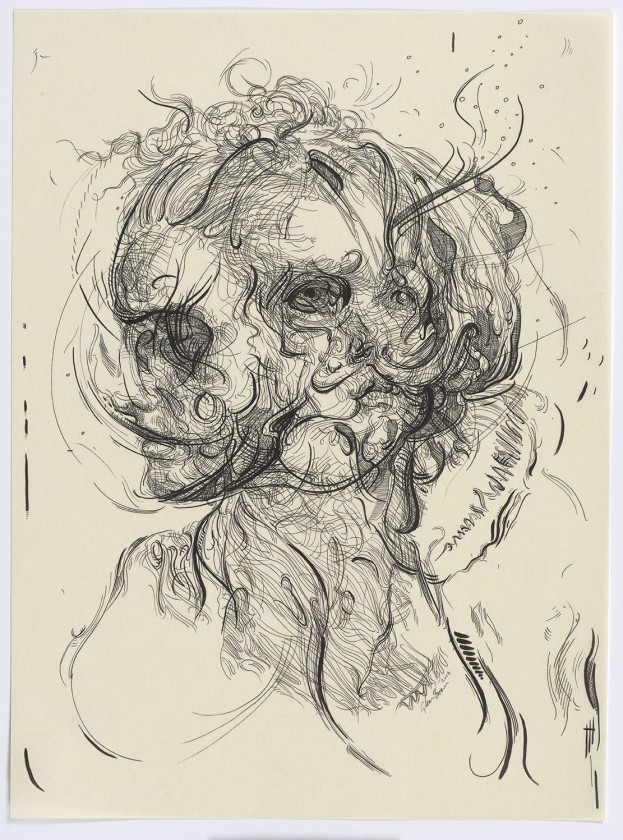 Glenn Brown, Drawing 17 (after Greuze/Greuze), 2015