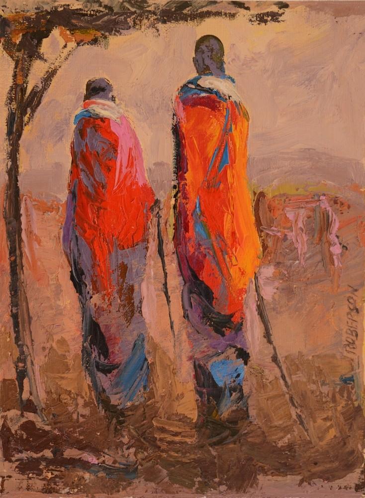 Tall Maasai Couple at Sunset