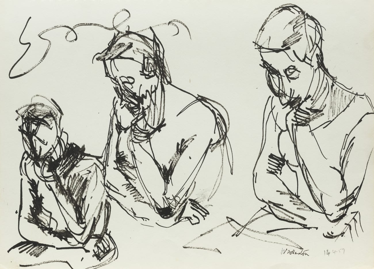 Three of One Sitter (three contemplative figures)