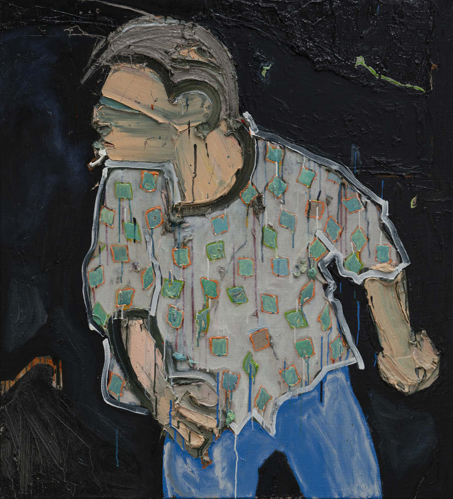 Mel Gibson Getting Drunk and Blaming it on the Jews. Painting Number 5 (checked shirt, cigarette)