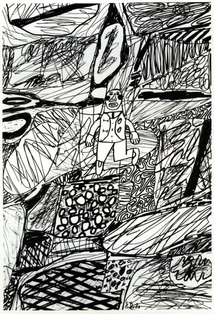 Jean DUBUFFET Paysage avec un personnage, 1980