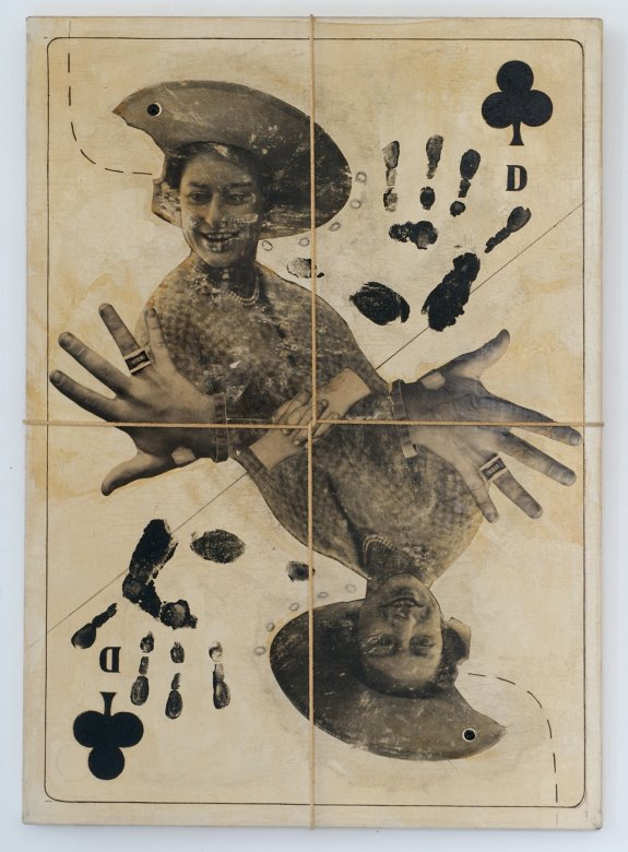 Dominick Di MeoStudy for a Used Deck of Cards (Queen of Clubs), 1974Acrylic, synthetic polymer, and cord on canvas71.1 x 50.8 cm., 28 x 20 in.(TDA03314)