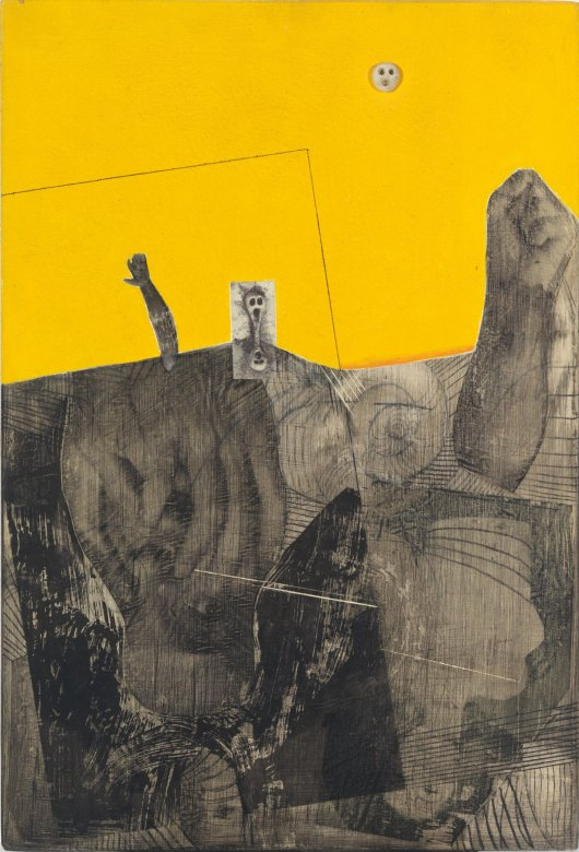 Dominick Di MeoUntitled (yellow background with skull), 1968Acrylic, plastic, and synthetic polymer on wood panel45.7 x 30.5 cm., 18 x 12 1/8 in.(TDA03344)