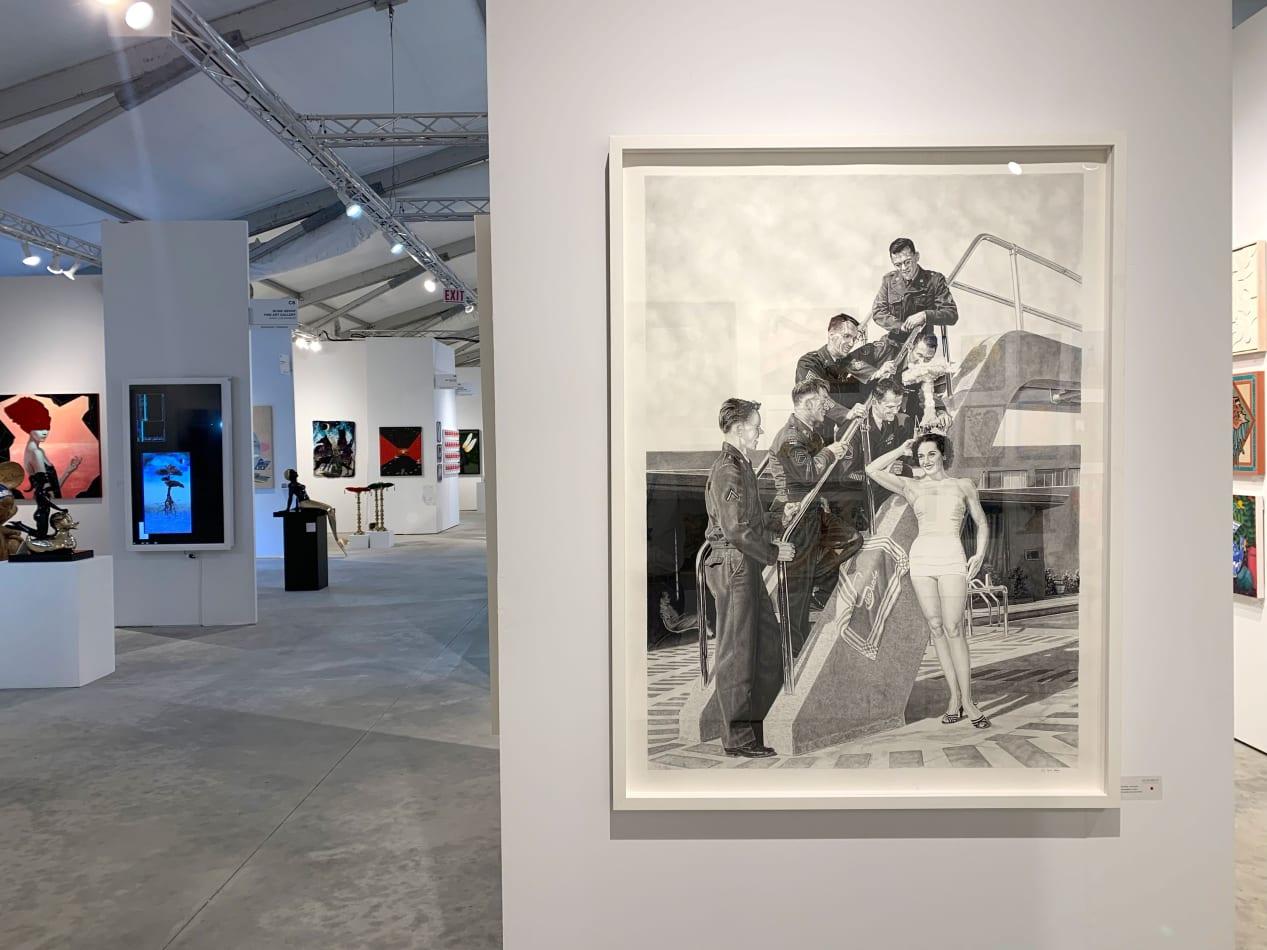 Installation view at CONTEXT Art Miami 2019. New artworks featuring Joel Daniel Phillips, Kim Cogan and Sean Newport
