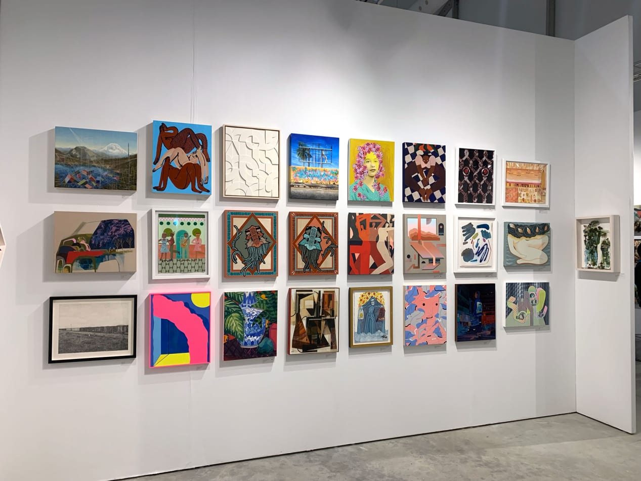 Installation view at CONTEXT Art Miami 2019. New artworks featuring Joel Daniel Phillips, Kim Cogan and Sean Newport