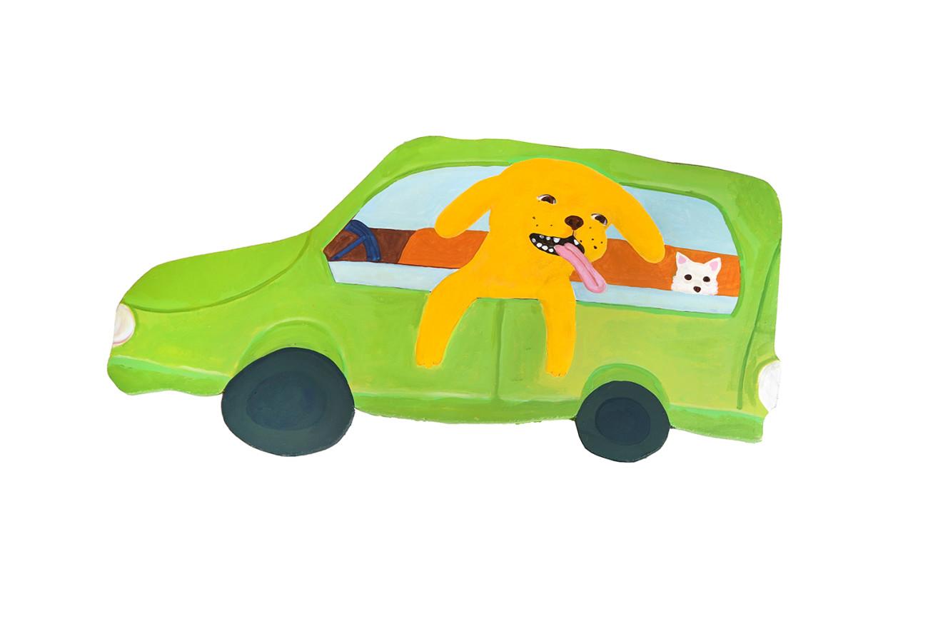 Katie Kimmel, Dogs in a Nissan Cube, 2019