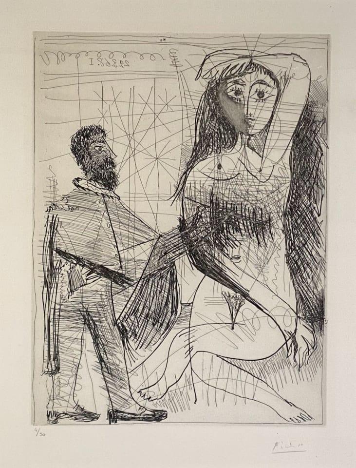 Pablo Picasso, Peintre en Costume Espagnol peignant sur son Modèle, 1968