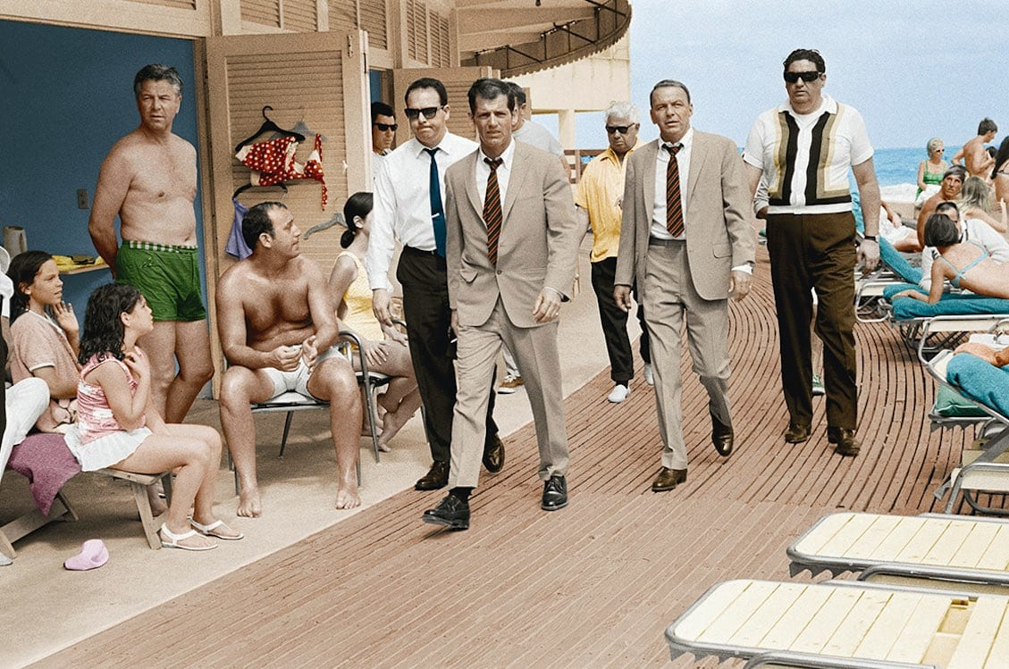 Terry O'Neill, Frank Sinatra, Miami Boardwalk, 1968 - colourised edition