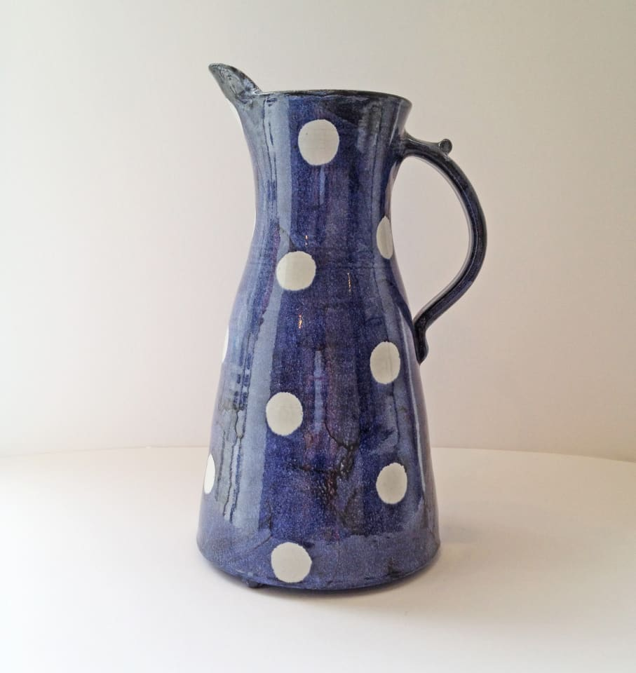 Tydd Pottery, Jug - Spots, White Spots on Blue, Tall , 2019