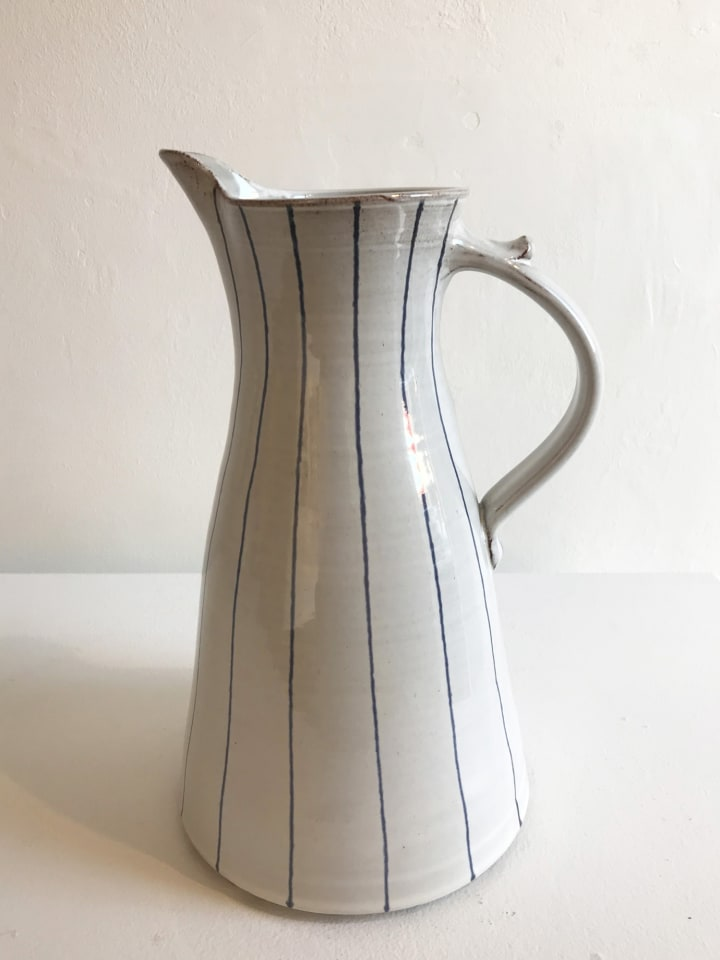 Tydd Pottery, Blue, Narrow Stripe on White, Tall Jug